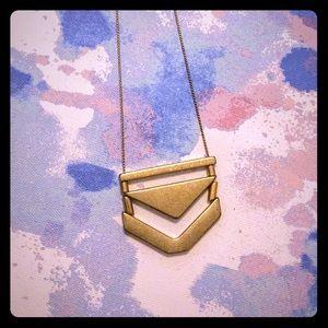 Long geometric gold tone necklace